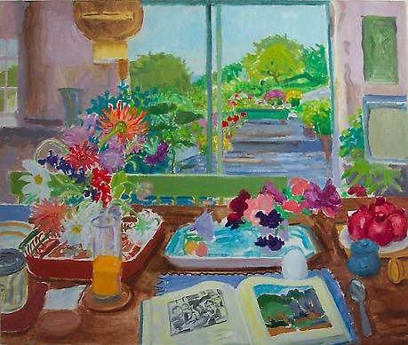 Summer Interior with Open Book 1986 oil on canvas 28 x 34 inches SOLD