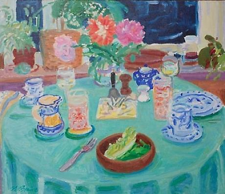 The Green Tablecloth 1973 oil on canvas 23 3/4 x 27 1/2 inches