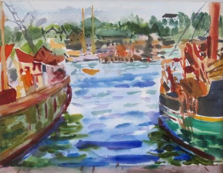 Two Boats 1971 watercolor on paper 12 x 16 inches