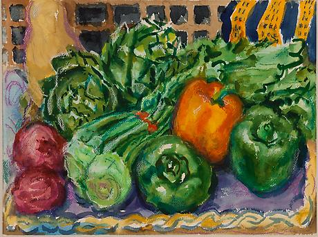 Vegetable Crowd 1992 watercolor and pastel 12 x 16 inches