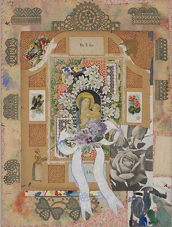 JOE BRAINARD Madonna with Flowers IV 1966 gouache and collage 20 ½ x 15 inches