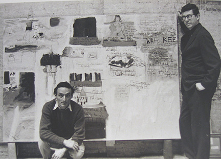 Larry Rivers and Kenneth Koch with Collaborative Painting 1962 gelatin silver print 8 x 10 inches