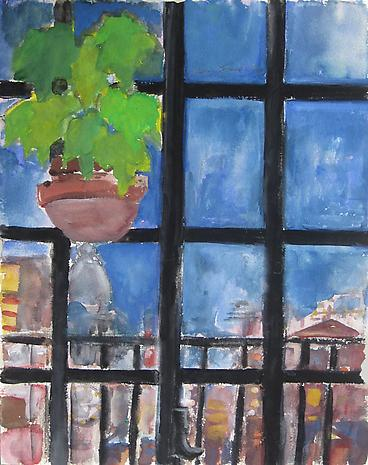 Casement Window 1974 watercolor on paper 12 x 9 inches