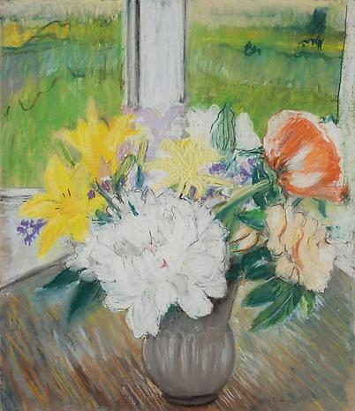 Flowers 1977 pastel on paper 14 x 12 inches