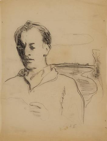 Untitled (Frank O'Hara in Landscape) c.1967 pencil on paper 11 ¾ x 8 ¾ inches