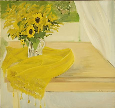 JANE FREILICHER Still Life with Yellow Flowers 1968 oil on canvas 46 x 50 inches