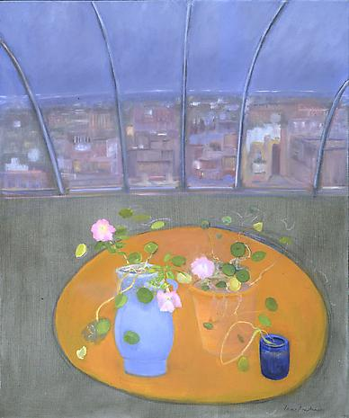 Nasturtiums and Petunias I 2003 oil on linen 36 x 30 inches