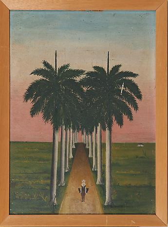 Gregorio Valdes Path Through Palm Trees, Figure in Foreground nd oil on board 13 7/8 x 10 inches