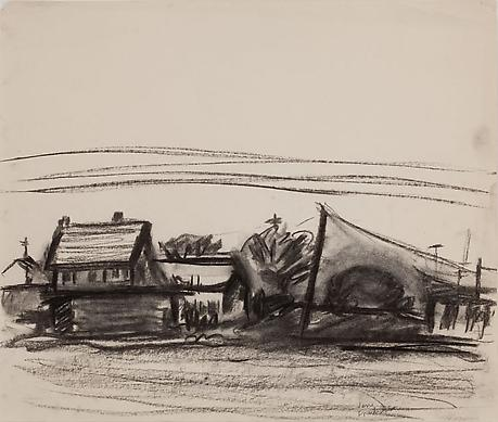 House and Telephone Pole c.1963 charcoal on paper 14 x 16 ½ inches