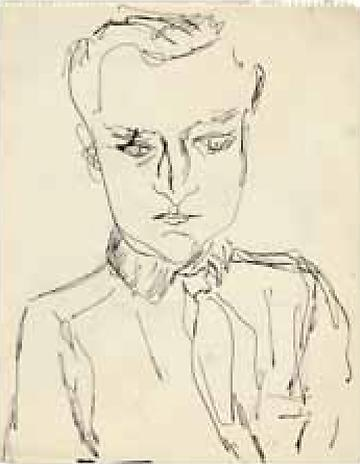 John Ashbery c.1954 pen and ink on paper 13 ¾ x 10 7/8 inches Private Collection