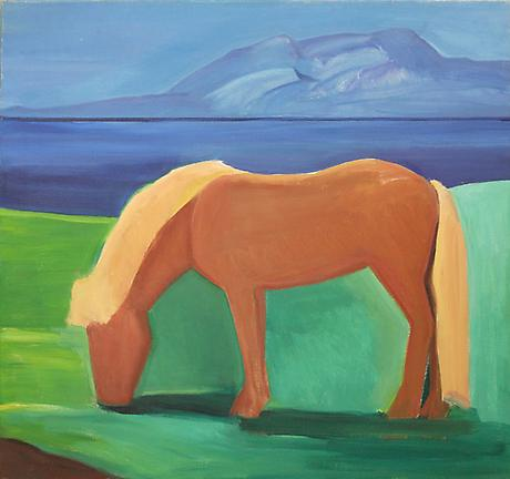 Icelandic Horse with Blond Mane c.1985 oil on canvas 41 x 44 inches