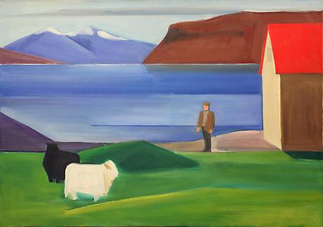 Icelandic Landscape with Sheep, Man and Red Roof c.1983 oil on canvas 37 x 52 inches