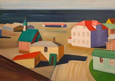 Icelandic Village c.1991 oil on canvas 37 x 52 inches