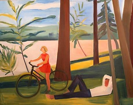 Maine, Girl with Bicycle and Recumbent Man 1976 oil on canvas 72 x 90 inches