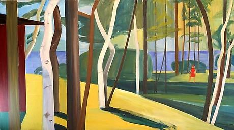 Maine Landscape c.1976 oil on canvas 60 x 108 inches