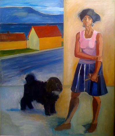 Self Portrait with Hat, House and Mischka 1971 oil on canvas 80 x 66 inches