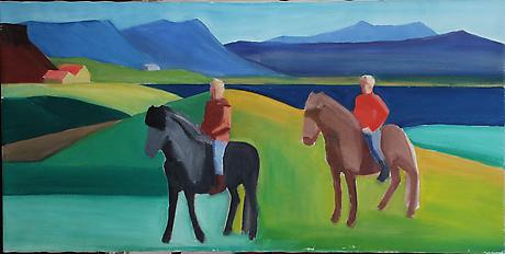 Two Riders c. 1990 oil on canvas 26 x 52 inches