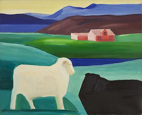 White and Black Sheep, Red House c.1990 oil on canvas 48 x 52 inches SOLD