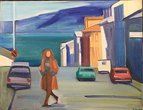Woman in Street c.1980 oil on canvas 23 x 30 inches