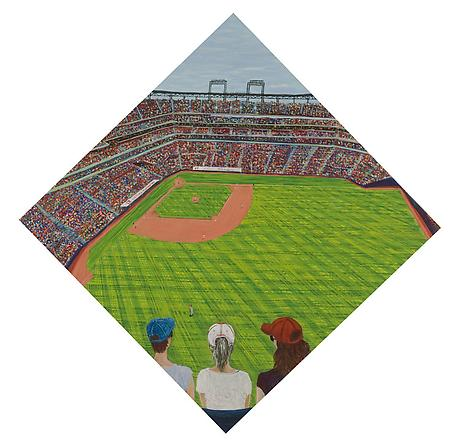 Baseball 2010 egg tempera on wood 33 1/2 x 33 1/2 inches