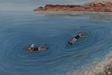 Dead Sea at WadiMujib, Jordan 2011 egg tempera on wood 24 x 36 inches
