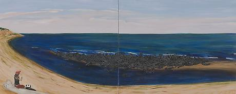 Gray Seals North Truro 2010 egg tempera on wood 9 3/4 x 24 inches (diptych)