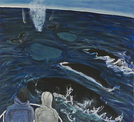 Humpbacks 2010 egg tempera on wood 11 5/8 x 12 3/4 inches