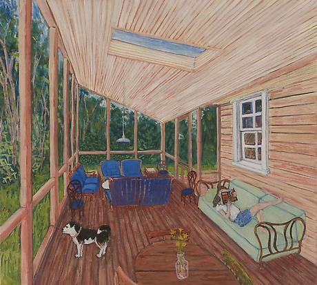 North Truro Porch 2010 egg tempera on wood 11 5/8 x 12 3/4 inches PRIVATE COLLECTION