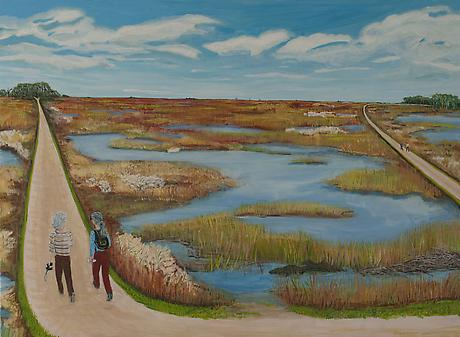 Savannah Wildlife Refuge 2012 egg tempera on wood 21 x 28 1/2 inches