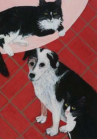 Triple Pet 2013 egg tempera on wood 21 x 14 3/4 inches