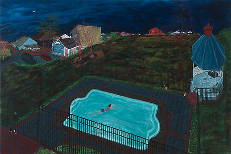 Joan's Bayou Rd NO 2013 eggtempera on wood 24 x 36 inches