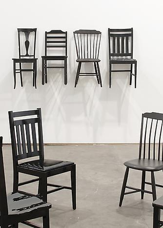 ROY McMAKIN Used/Use (4 black chairs two from Centralia and 2 I bought on Ebay) 2012 enamel paint on maple, upholstery, found pieces dimensions variable