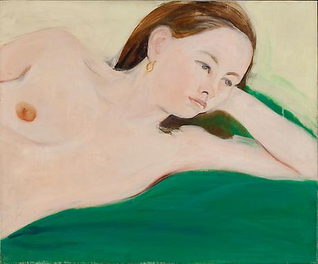 Nude on a Green Blanket 1967 oil on linen 25 x 30 inches