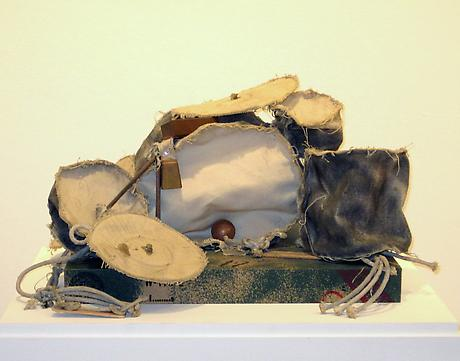 Claes Oldenburg Miniature Soft Drum Set 1967 canvas, clothesline, wood, cardboard, painted with spray enamel, pencil 10 x 19 x 14 inches