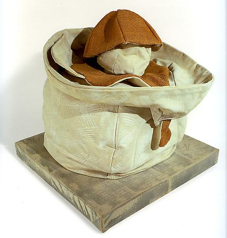 Claes Oldenburg Soft Juicit-Ghost Version 1965 canvas filled with kapok, burlap painted with liquitex on wood base covered with canvas 19 x 18 x 16 inches