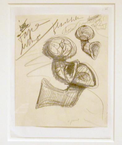"Claes Oldenburg Studies of ""Airflow"" Horns 1966 pencil and ballpoint pen 11 x 8 1/2 inches"
