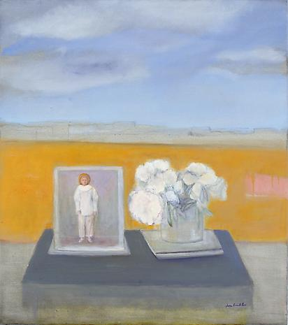 Pierrot and Peonies 2007 oil on linen 36 x 32 inches Private Collection