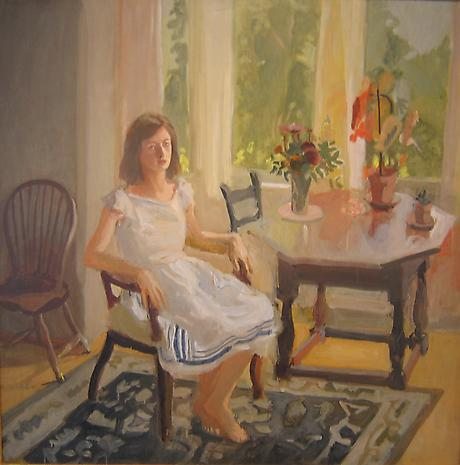 FAIRFIELD PORTER Claire White 1960 oil on canvas 45 1/2 x 45 inches