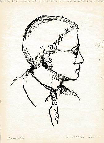 Portrait of Kenneth Koch  nd pen and ink on paper 12 x 8 ¾ inches Private Collection