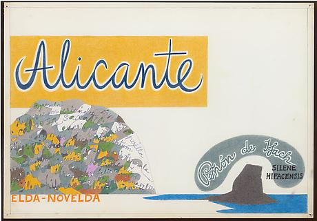 Alicante 1962 ink and colored pencil on paper 14 x 20 inches