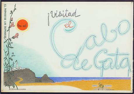 El Cabo de Gata 1962 ink and colored pencil on paper 14 x 20 inches