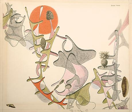 Evolution with Mushrooms, Bud, and Pineapple 1946 ink, colored pencil, and cut printed reproductions on paper 13 5/8 x 16 3/8 inches