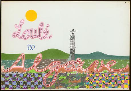 Loulé no Algarve 1962 ink and colored pencil on paper 14 x 20 inches