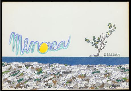 Menorca 1962 ink and colored pencil on paper 14 x 20 inches