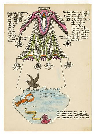 Petrel in a Cage 1951 ink and colored pencil on stationery 10 1/2 x 7 1/4 inches