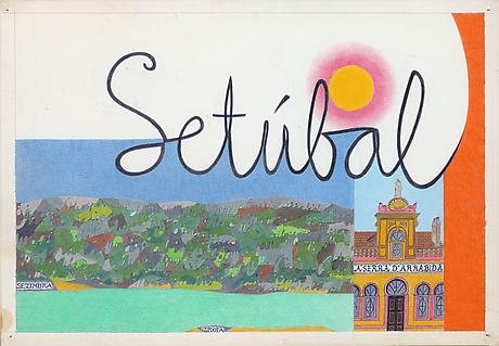 Setúbal 1962 ink and colored pencil on paper 14 x 20 inches
