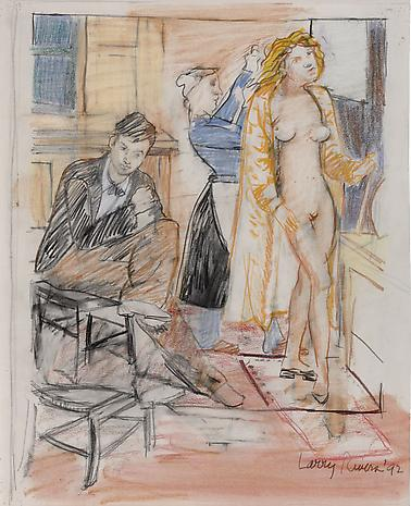 Art and the Artist: Balthus and the Adolescent 1992 pencil and colored pencil on paper 20 x 16 1/4 inches