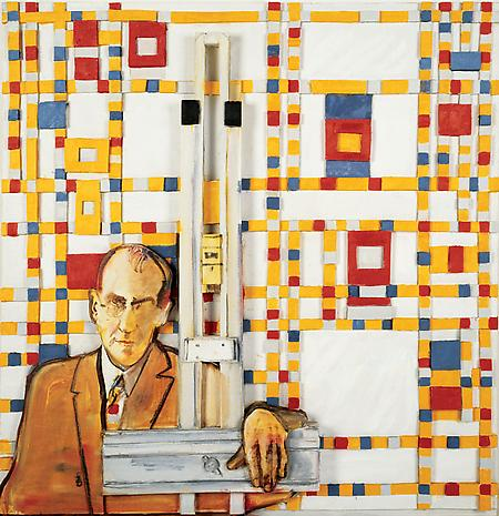 Art and the Artist: Mondrian 1992 oil on canvas mounted on sculpted foamboard 40 7/8 x 39 3/4 x 4 1/2 inches Private Collection