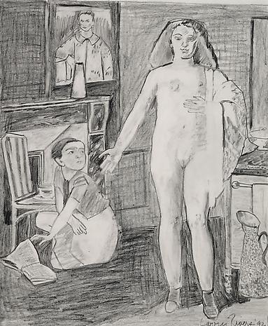 Balthus Teenage Nude 1992 pencil on paper 29 x 24 3/4 inches