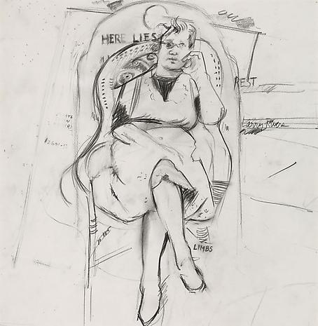 Berdie Seated Drawing 1985 pencil on paper 15 x 15 inches